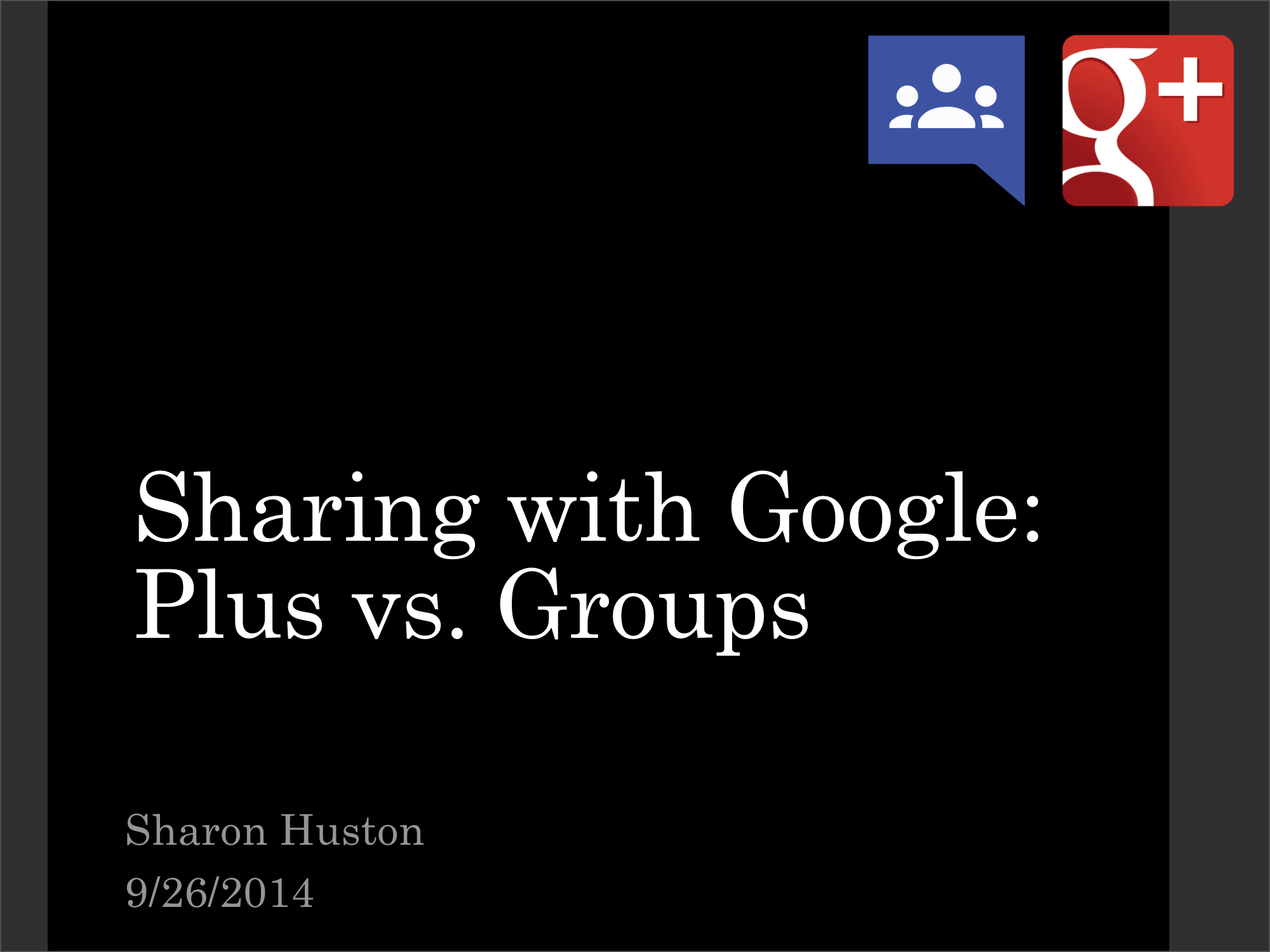 This presentation discusses the trade-offs between Google Groups and Google Plus Communities.
