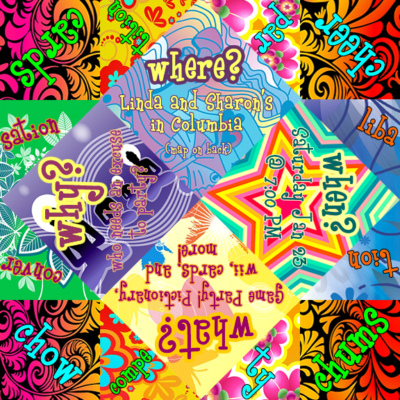Party invitation, designed with clip art, that folds into a cootie catcher.