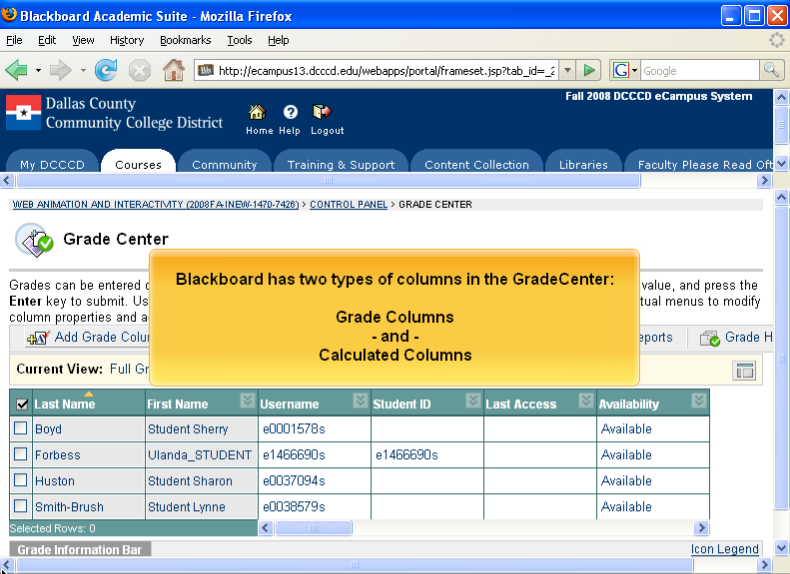 Short software demo video on how to add a grade column to Blackboard.