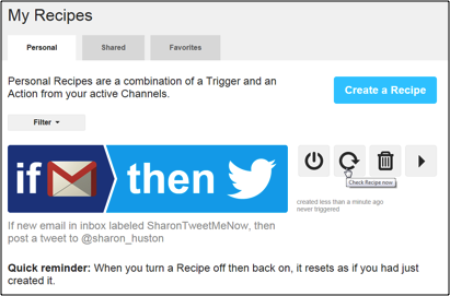 Screen shot of the IFTTT recipe to connect Twitter to GMail.