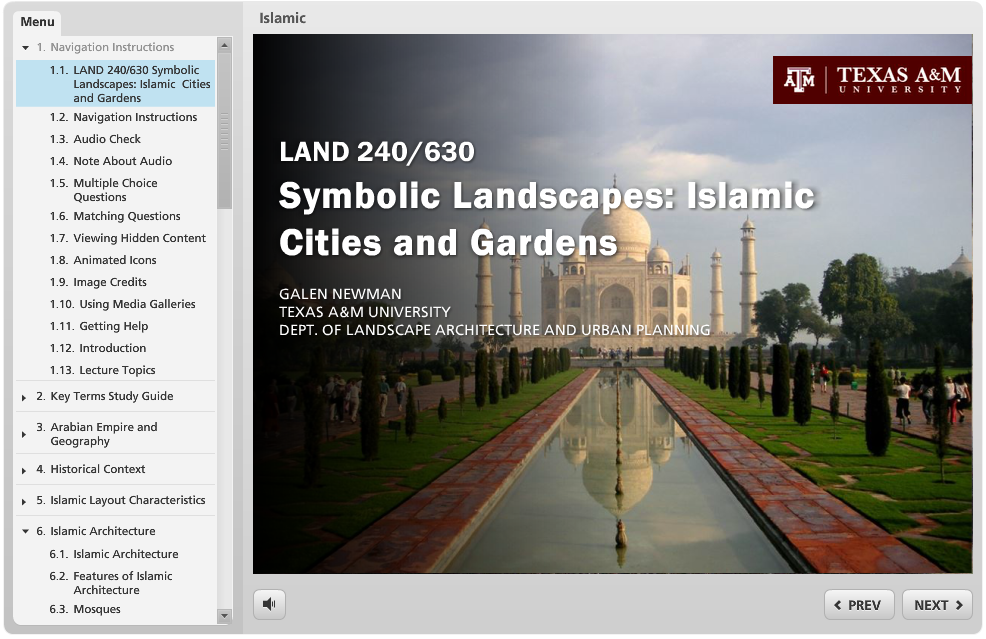 A Storyline virtual lecture on Islamic gardens.