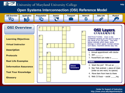 This RLO on the OSI Model was created in Flash.