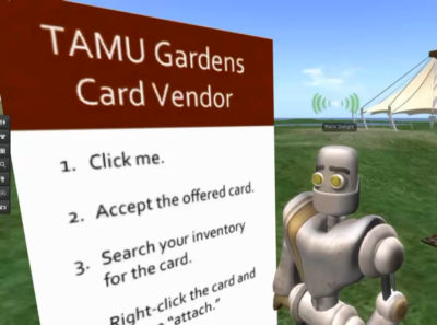 Our demo avatar stands in front of a debit card giver. The giver is labeled with instructions.