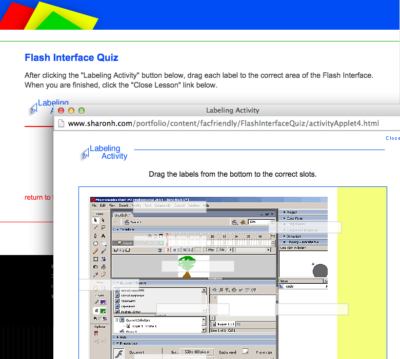 This lesson asks students to correctly label the Flash interface.